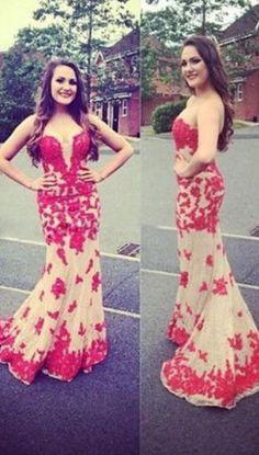 Sweetheart Long Mermaid Prom Dress Applique Evening Dress Party Dress