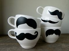 Mustache Mugs Set of Five Mugs White Mustache by frankieandcocopdx