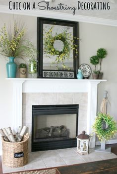 Decorating Ideas, : Lovely Mantel Decoration For White Fireplace Design With Basic Green Wreath, Sky Blue Plant Vase And Round Rattan Basket