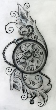 "Steampunk Clock- Maybe a bit more ""Doctor Who"" Pocket Watch Tattoo Design, Clock Tattoo Design, Tattoo Designs, Tattoo Clock, Hand Tattoos, Love Tattoos, Girl Tattoos, Tatoos, Neck Tattoos"