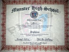 Monster High Diploma Certificate Birthday Party Favor by Pinkjet, $5.99
