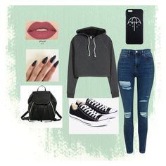 """""""casual grunge"""" by bellafawxo on Polyvore featuring Topshop, Converse, Rebecca Minkoff, Smashbox, casual, grunge and chill"""