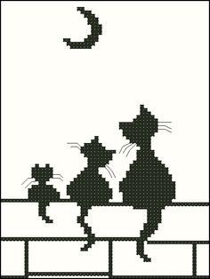 Broderie Mini chats et lune - Stella ✨ - Pint Pic Cat Cross Stitches, Cross Stitch Charts, Cross Stitch Designs, Cross Stitching, Cross Stitch Embroidery, Cross Stitch Patterns, Chat Crochet, Filet Crochet, Crochet Cross