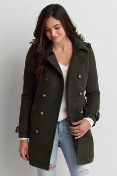 AEO Military Wool Coat by AEO | Start your journey with AEO Outerwear. Crafted for every adventure,