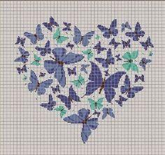 ponto da cruz do teste padrão do coração borboleta | Hobby bordado - bordado - crochet - tricô
