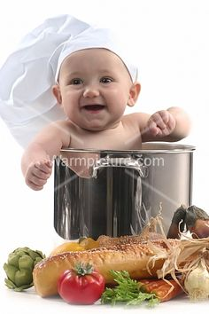 d53090be815 Cute Baby in a Chef Pot Smiling