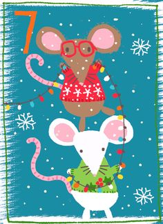 Day 7 Two little mice Just Kids Ltd Advent Christmas Town, Christmas Countdown, Christmas Signs, Christmas Baby, Christmas Holidays, Christmas Crafts, Whimsical Christmas, Vintage Christmas, Advent For Kids