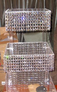 3 Square Tiered Hanging Crystal Stand For Wedding Guest Gourmet Cupcakes is the Centerpiece for the Dessert Table!!!