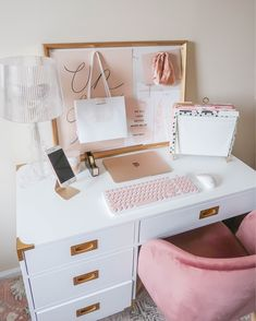 Study Room Decor, Cute Room Decor, Room Ideas Bedroom, Bedroom Decor, Home Office Space, Home Office Design, Home Office Decor, Home Decor, Office Desk