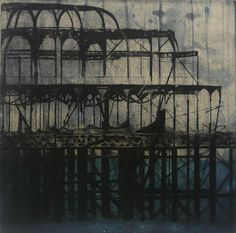 'Pier' (2010) by artist & printmaker Jenny Robinson. Drypoint, spitbite, chine colle, edition of 10, 12 x 11.75 in. via Davidson Galleries