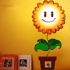 Alytimes Home Room Decor Decoration Sunflower DIY Wallpaper Novelty Cartoon Wall Stickers LED Night Light Lamp for Kids' Bedroom