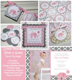 Little Peanut Pink Elephant Birthday Party Package - Invitation, banner, cupcake toppers and More - The Party Paper Fairy Circus Birthday, Girl First Birthday, Baby Birthday, First Birthday Parties, First Birthdays, Birthday Ideas, Bebe Shower, Baby Shower Niño, Baby Shower Parties