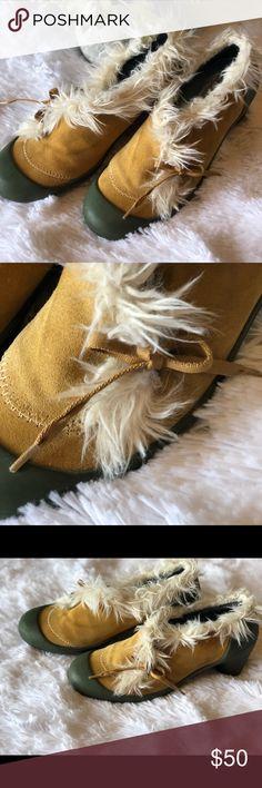 Camper Suede and Green Rubber Sole Heels 36 Suede and green rubber soles. Fur around top. Cute bows. 2.75 inch heels. Size 36. Light wear. Camper Shoes Heels