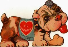 Vintage Valentine's Day Card Adorable Bulldog Puppy Dog Made in Canada