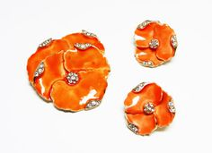 New Listings Daily - Follow Us for UpDates -  Orange Pansy Flower Brooch & Earring Set - Bright Enamel Orange Flowers with Rhinestone Edges - Clip on Earrings - #Vintage Garden #Jewelry offered by TheJewelSeeker on Etsy ... #vintage #jewelry #teamlove #etsyretwt #ecochic