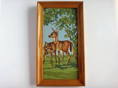 Paint by numbers. Ideally vintage, completed and framed. Small and unusual shapes are great. Animals, nature scenes.
