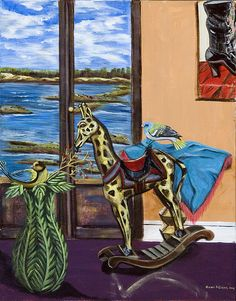 Title:  Giraffe Is Off His Rocker  Artist:  Susan Culver  Medium:  Painting - Acrylic On Canvas