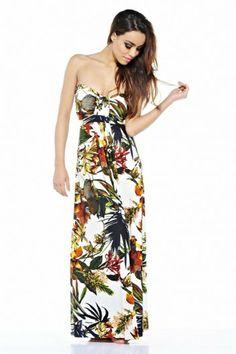 efd044117ce Summer Floral Printed Strapless Chiffon Dress - AX Paris USA-Fashion Dresses