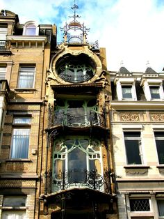 Belgian architect Gustave Strauven's Maison Saint-Cyr. Built for Georges Saint-Cyr between 1901 and 1903 in a baroque-flamboyant style.