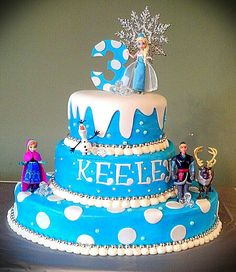 """If you are thinking about have a Frozen party, here are some awesome cake inspirations. If you want more, check out """"More Froze Party Cake. Frozen Party Cake, Disney Frozen Cake, Frozen Themed Birthday Party, Disney Frozen Birthday, Disney Cakes, Party Cakes, Cupcakes, Cupcake Cakes, Pastel Frozen"""