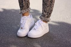 patterned trousers + nike air force