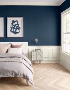 Sherwin-Williams color of the year 2020 - naval bedroom wall paint Swap a scuffed-up interior paint color for these neutral options that will help your home shine, even when you don't have time to clean. Soothing Paint Colors, Blue Paint Colors, Interior Paint Colors, Nautical Paint Colors, Color Walls, Paint Decor, Relaxing Colors, Neutral Paint, Nautical Theme