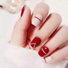 Nail Art Designs Images, Simple Nail Designs, Acrylic Nail Designs, Red Nail Designs, Elegant Designs, Short Red Nails, Long Nails, Pedicure Colors, Nail Colors
