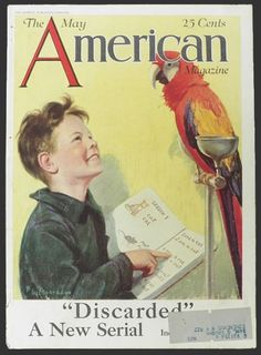 1925 American Magazine Cover ~ Boy Teaches Macaw Parrot to Talk