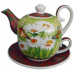 Jameson&Tailor XXL Tea for one grüne Wiese 0,6 Ltr Teekanne Tee Tasse Untertasse: Amazon.de: Küche & Haushalt