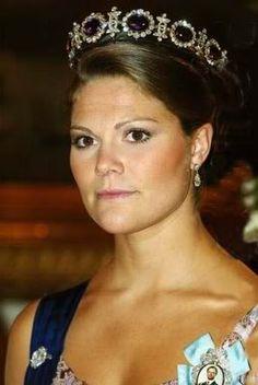 Sweden's Crown Princess Victoria wearing the Queen Josephine Amethyst Tiara
