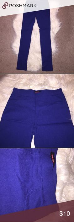 Blue high waisted leggings Size medium. Blue tight high waisted leggings. Has fake side pockets, real pockets on the back. Super fashionable. Skinny pants. Purchased from local boutique only worn a few times. Brand is nameless nameless Pants Skinny