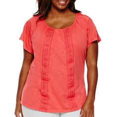 St. John's Bay® Short-Sleeve Knit Lace Peasant Top - JCPenney