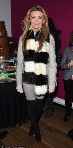 Keeping cosy: Made In Chelsea's Georgia 'Toff' Toffolo opted for a fluffy scarf and a wool. Grey Jumper Dress, Hallway Carpet Runners, Made In Chelsea, Carpet Trends, Beautiful Love, Famous Faces, Knee High Boots, My Idol, Georgia
