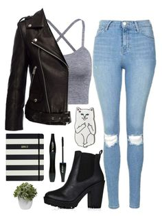 A fashion look from July 2016 featuring cami tank, moto jacket and distressed jeans. Browse and shop related looks. Bad Girl Outfits, Komplette Outfits, Teenage Girl Outfits, Teenager Outfits, Fall Outfits, Fall Dresses, Really Cute Outfits, Cute Casual Outfits, Stylish Outfits
