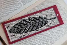 Single Feather ZentangleInspired  Bookmark by WonderingMindField, $4.00