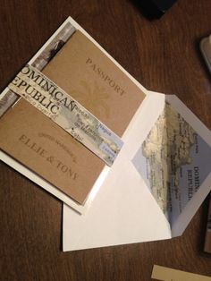 Our handmade Kraft Paper Destination Wedding Passport Invitations Invites