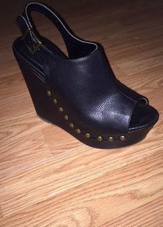 Black Alexandra Wedges size 9