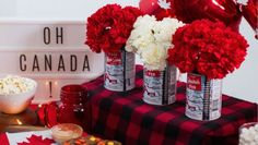 Easy all-Canadian decor ideas for the country's birthday bash Canadian Snacks, Canadian Party, Canadian Beer, Canada Birthday, Canada Day Party, Leaf Cutout, Canada Holiday, Lumberjack Party, Happy Canada Day