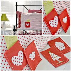 DIY Pillowcases with EXCHANGEABLE Pockets, to leave messages during the year. Perfect Christmas Gift!