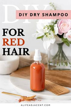 Learn how to make DIY dry shampoo spray for red hair! This simple dry shampoo recipe matches your unique red hair color, so it won't leave a white cast or ashy tone. Works for all shades including dyed red hair. Whether your hair is ginger toned, or you have auburn, copper, or burgundy hair, you can customize this easy homemade recipe for your natural haircare routine. Made with all natural ingredients like vodka, corn starch, red clay and essential oils. Works great for oily hair. Homemade Dry Shampoo, Homemade Deodorant, Diy Shampoo, Diy Natural Beauty Recipes, Diy Beauty, Red Hair Shampoo, Diy Hair Care, Natural Haircare, Burgundy Hair