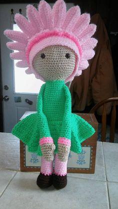 Gerbera Gemma flower doll made by Jane B E - crochet amigurumi pattern by Zabbez