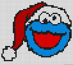 Christmas Cookie Monster perler bead pattern