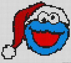 Christmas Cookie Monster perler bead pattern