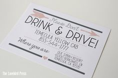 Wedding Bar Sign - Don't Drink and Drive - Open Bar - Printable Alcohol! Sign- PDF - DIY - AA4 by TheLovebirdPress on Etsy https://www.etsy.com/listing/200871941/wedding-bar-sign-dont-drink-and-drive