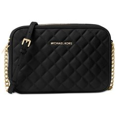 Michael Michael Kors Jet Set Travel Large East West Quilted Crossbody ($168) ❤ liked on Polyvore featuring bags, handbags, shoulder bags, black, cross body travel purse, chain shoulder bag, quilted handbags, crossbody handbag and michael kors shoulder bag