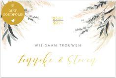 Trend trouwkaarten met goudfolie, droogbloemen en eucalyptus. Ballerina Cupcakes