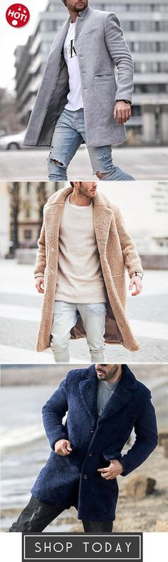 KaWaYi Men Plus Size Pure Color Cotton Thickening Mid Length Parka Jacket