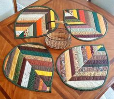 Handmade Quilted Double sided Strip Patchwork Place Mats Autumn or Fall home decor for dining Quilting Projects, Quilting Designs, Sewing Projects, Mug Rug Patterns, Quilt Patterns, Patchwork Quilting, Applique Quilts, Fabric Crafts, Sewing Crafts