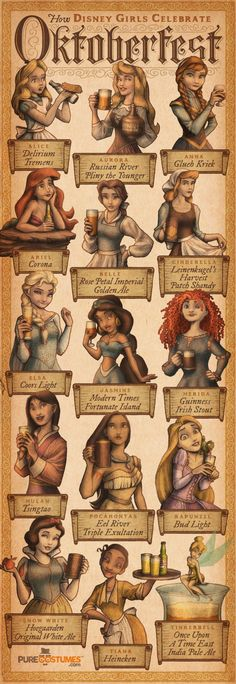 How Disney Girls Celebrate Oktoberfest by IngvardtheTerrible.deviantart.com on @DeviantArt - More info here: http://www.purecostumes.com/blog/how-disney-girls-celebrate-oktoberfest-2/ I will confess that seeing Jasmine and Pocahontas in this graphic makes me rather uncomfortable: Jasmine because she's Muslim, and alcohol is restricted in Islam; and Pocahontas because of all the negative stereotypes around now re: Native Americans and alcohol.