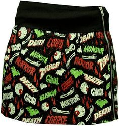 """amazon.com:  red """"oh the horror"""" mini zip skirt from sourpuss clothing"""